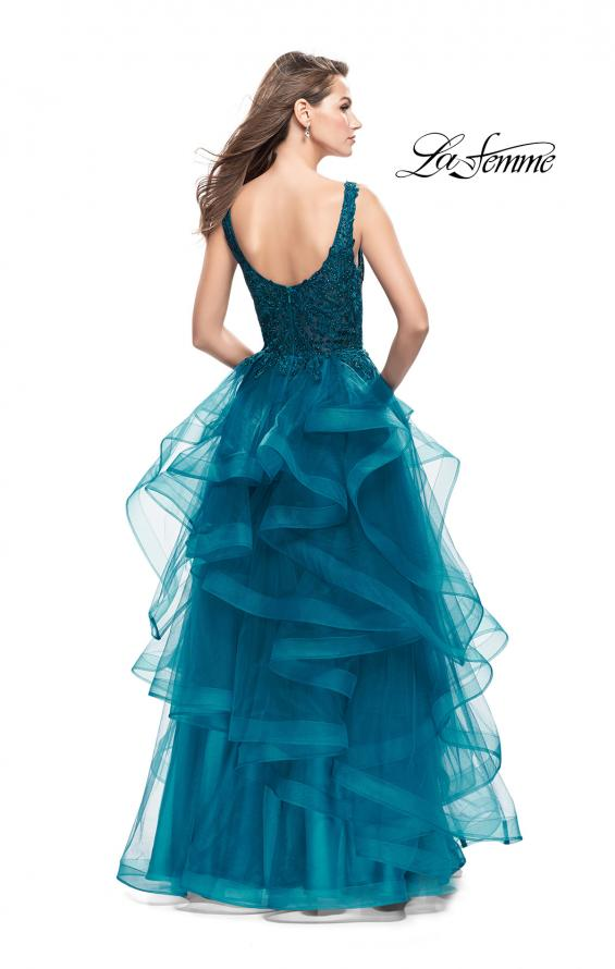 Picture of: Long Ball Gown with Cascading Ruffle Skirt and Lace, Style: 25982, Back Picture