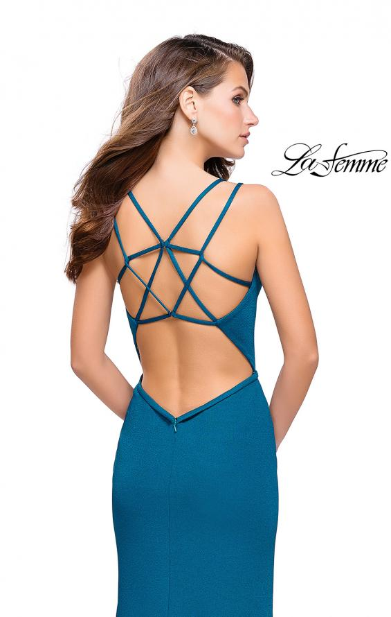 Picture of: Open Strappy Back Long Prom Dress with Deep V, Style: 26023, Back Picture