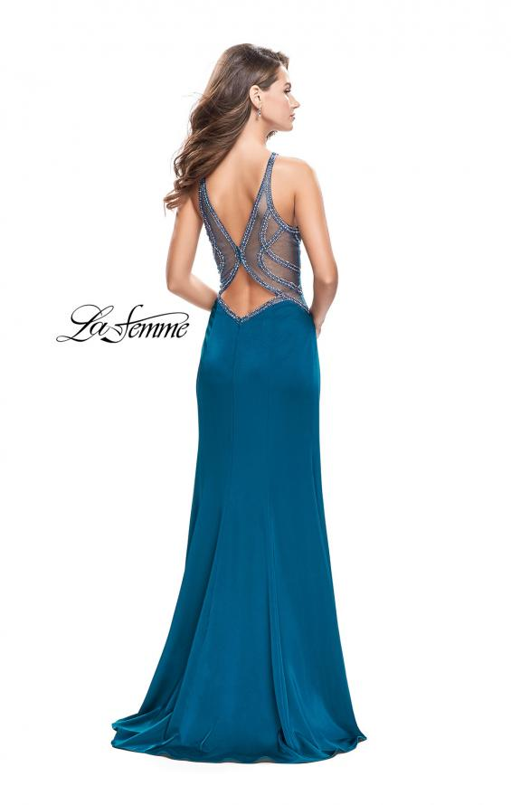 Picture of: Sheer Beaded Prom Dress with High Neck and Cut Outs, Style: 26060, Back Picture