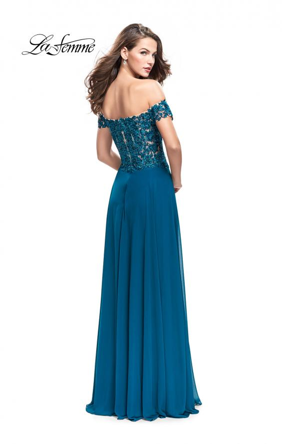 Picture of: Beaded Lace Off the Shoulder Prom Dress, Style: 26070, Back Picture