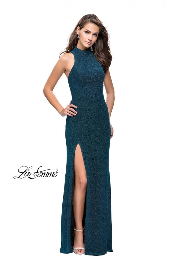 Picture of: Sparkly Jersey Long Dress with High Neckline and Front Slit in Teal, Style: 25404, Detail Picture 1