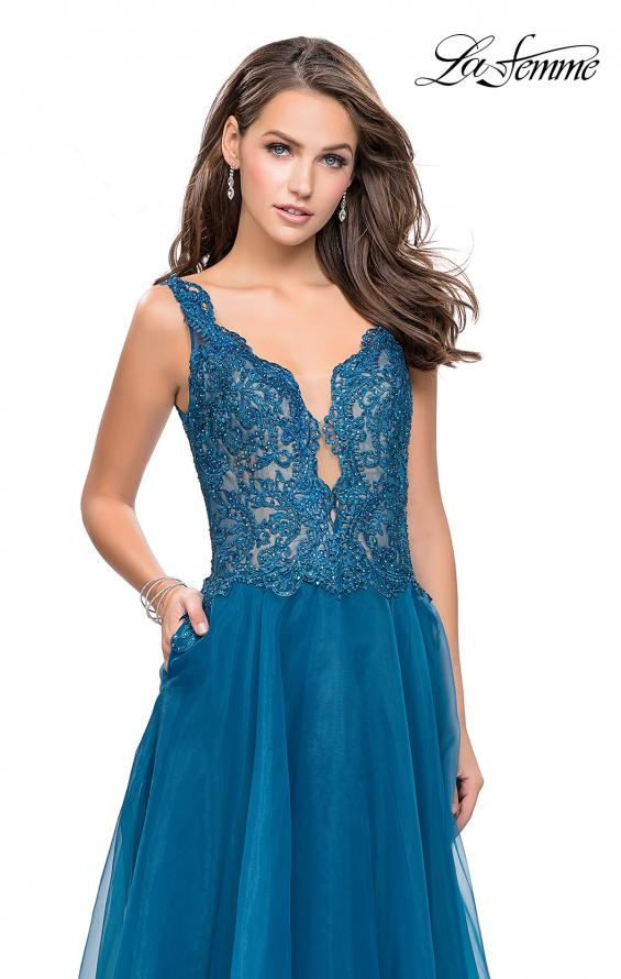 Picture of: Long A-line Prom Dress with Beaded Lace Bodice in Teal, Style: 25970, Detail Picture 1