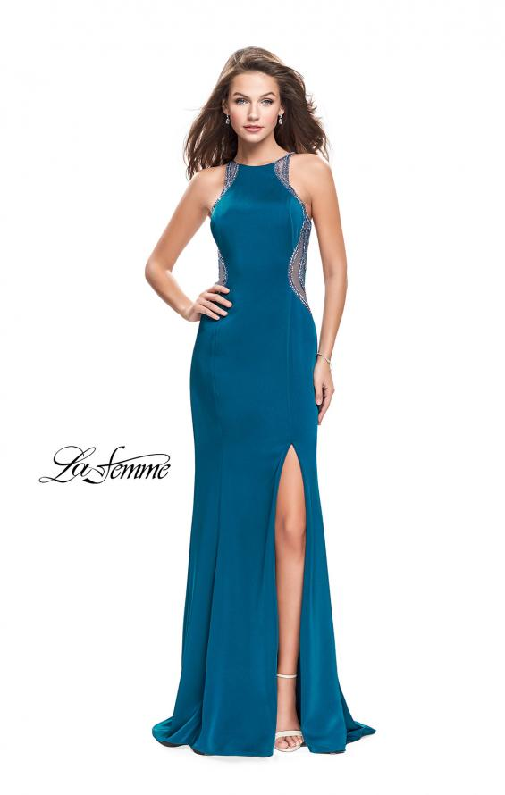 Picture of: Sheer Beaded Prom Dress with High Neck and Cut Outs, Style: 26060, Detail Picture 1