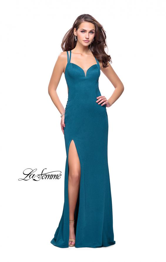 Picture of: Shimmering Prom Dress with Leg Slit and Open Back in Teal, Style: 26266, Detail Picture 1