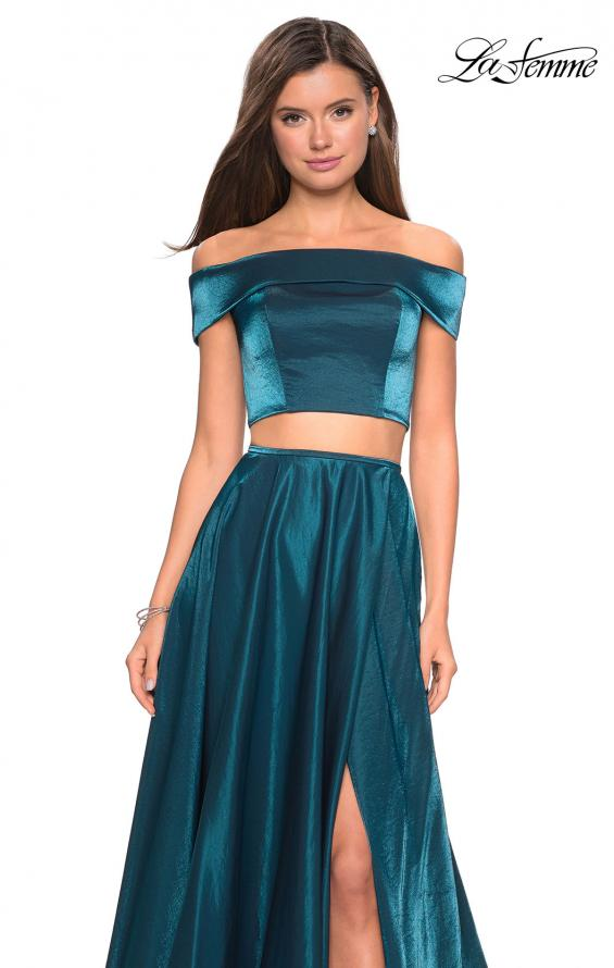 Picture of: Two Piece Two- Tone Satin A Line Prom Dress in Teal, Style: 26919, Detail Picture 1