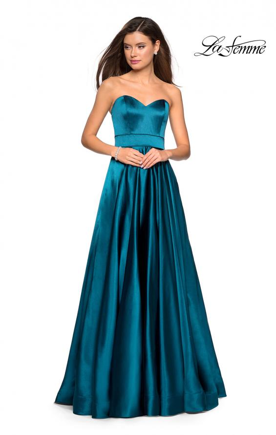Picture of: Strapless Metallic Prom Gown with Empire Waist in Teal, Style: 27506, Detail Picture 1