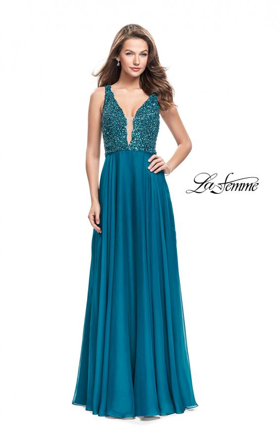 Picture of: A-Line Prom Gown with Chiffon Skirt and Beaded Bodice in Teal, Style: 26053, Detail Picture 2