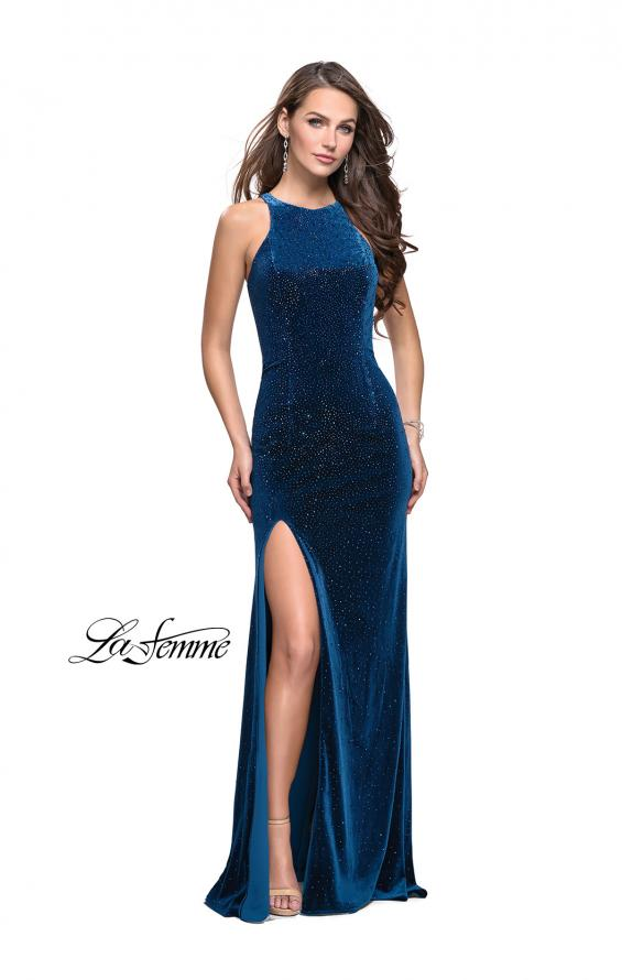 Picture of: Sparkling Velvet Prom Dress with Rhinestone Beading in Teal, Style: 25679, Detail Picture 3