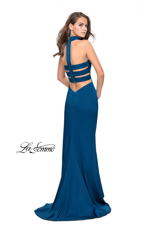 Picture of: Strapless Jersey Prom Dress with Attached Choker in Teal, Style: 25735, Detail Picture 3