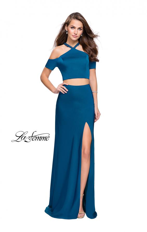 Picture of: Two Piece Long Prom Dress with Beaded Halter Top in Teal, Style: 25846, Detail Picture 3