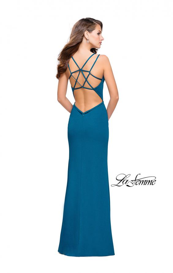 Picture of: Open Strappy Back Long Prom Dress with Deep V, Style: 26023, Detail Picture 3