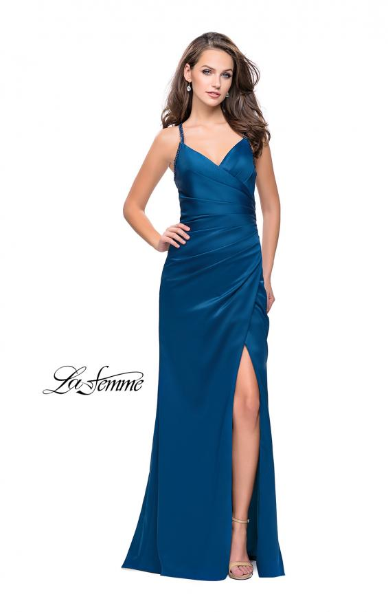Picture of: Satin Prom Dress with Ruching and Open Strappy Back in Teal, Style: 26036, Detail Picture 3