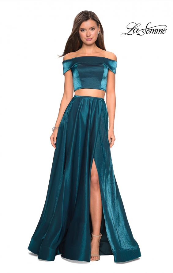 Picture of: Two Piece Two- Tone Satin A Line Prom Dress in Teal, Style: 26919, Detail Picture 3