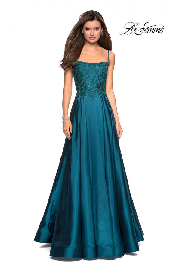 Picture of: Long Mikado Gown with Lace Bust and Open Back in Teal, Style: 27222, Detail Picture 3