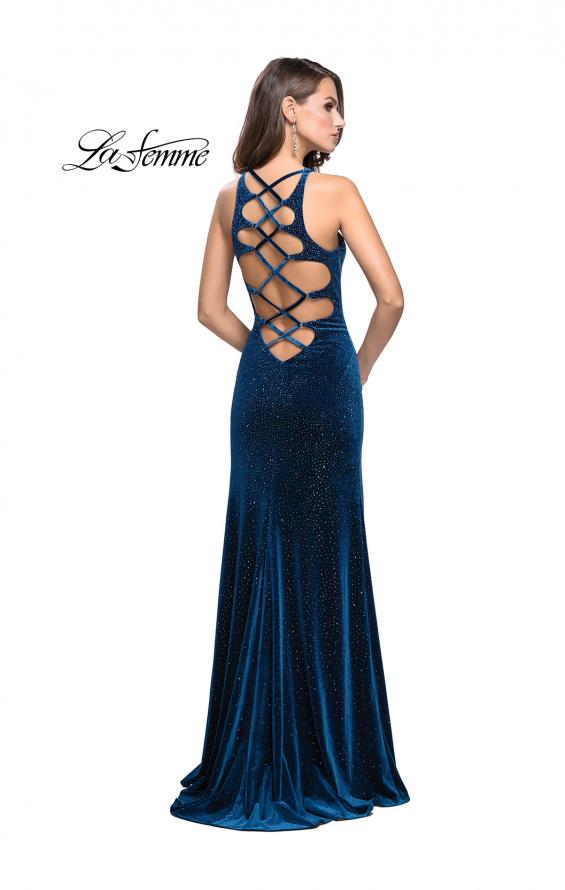 Picture of: Sparkling Velvet Prom Dress with Rhinestone Beading in Teal, Style: 25679, Detail Picture 2