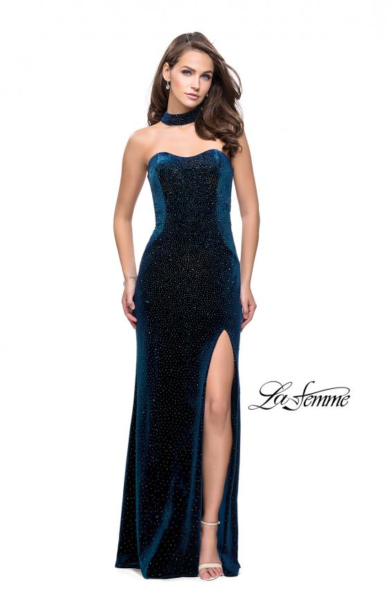 Picture of: Long Strapless Velvet Prom Gown with Cascading Beads in Teal, Style: 26239, Detail Picture 2