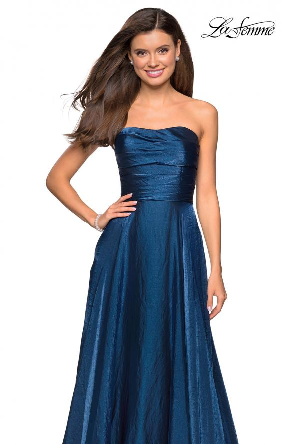 Picture of: Strapless Satin Gown with Ruching and Pockets, Style: 27130, Detail Picture 4