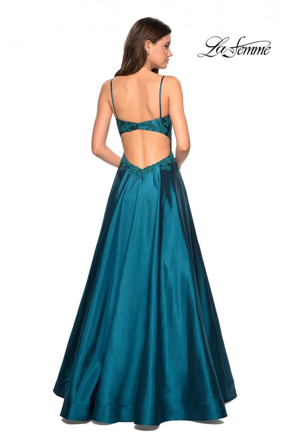 Picture of: Long Mikado Gown with Lace Bust and Open Back in Teal, Style: 27222, Detail Picture 4