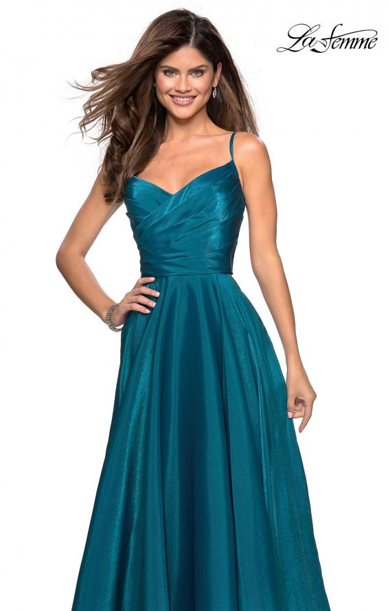 Picture of: Long Satin Simple Prom Dress with Empire Waist, Style: 27226, Detail Picture 4