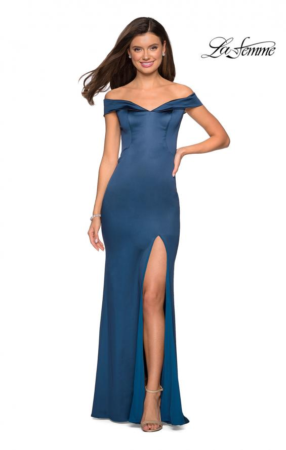 Picture of: Form Fitting Off the Shoulder Satin Prom Dress in Teal, Style: 27752, Detail Picture 4