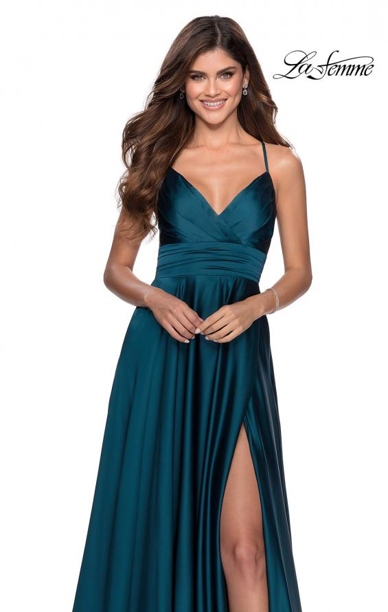 Picture of: Elegant Satin Prom Gown with Empire Waist in Teal, Style: 28571, Detail Picture 4