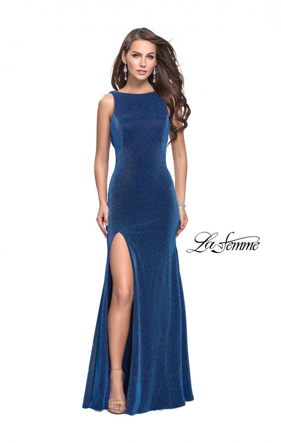 Picture of: Form Fitting Prom Gown with Leg Slit and Ruching, Style: 25884, Main Picture