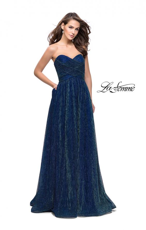 Picture of: Pleated Lame A-line Prom Dress with Ruched Bodice in Turquoise, Style: 25886, Main Picture