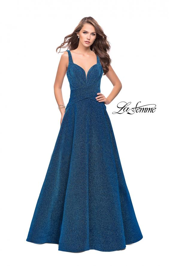 Picture of: Sparkling Mikado A-line Ball Gown with Ruched Bodice in Turquoise, Style: 26325, Main Picture