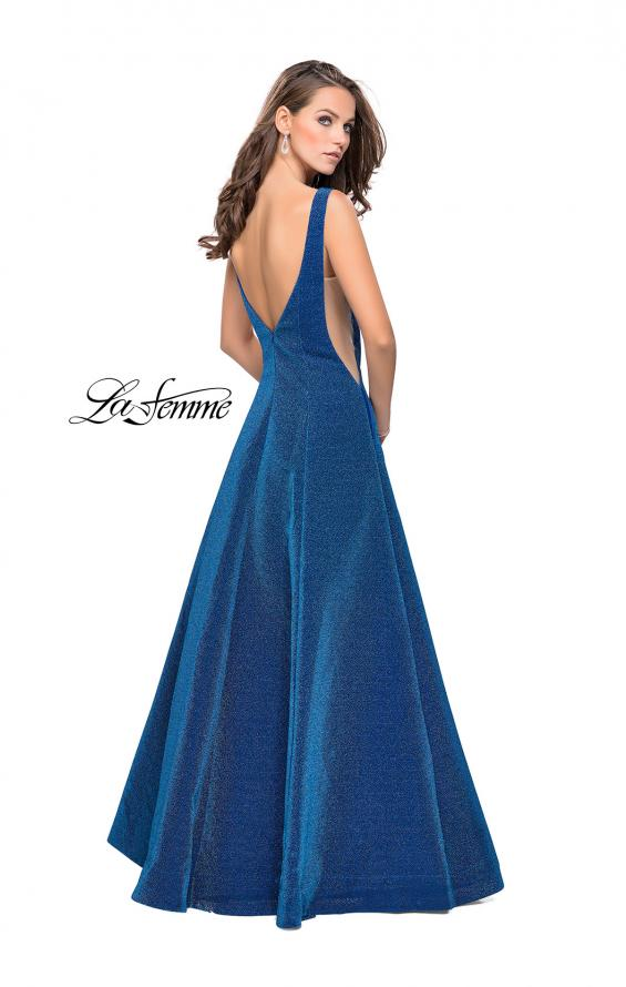 Picture of: Long Mikado Ball Gown with Boat Neckline and Pockets, Style: 26231, Back Picture