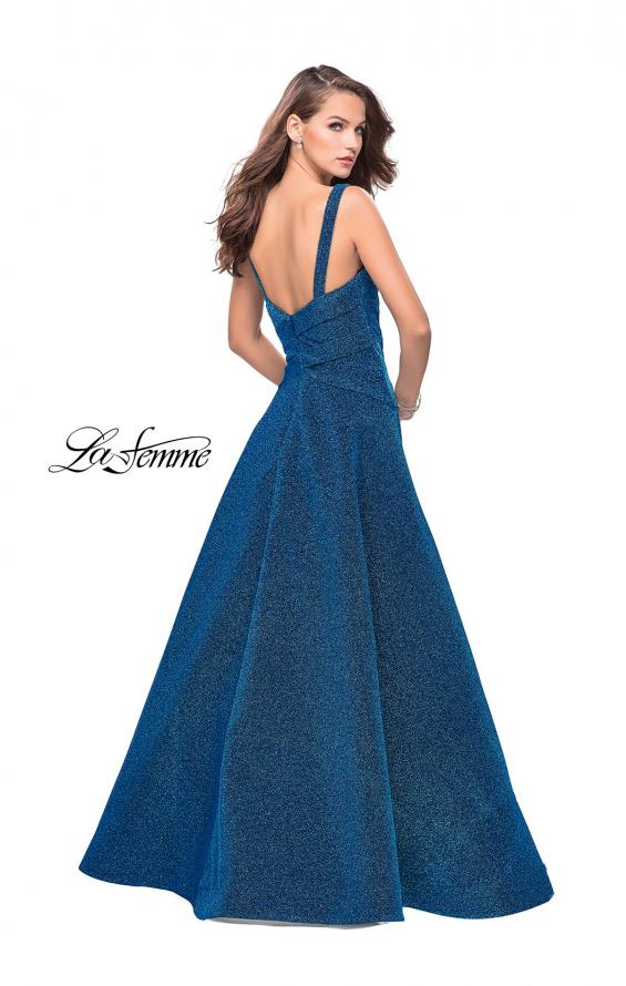 Picture of: Sparkling Mikado A-line Ball Gown with Ruched Bodice in Turquoise, Style: 26325, Back Picture