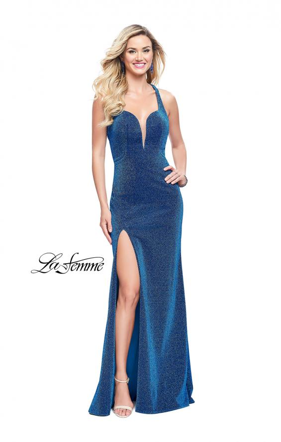 Picture of: Form Fitting Jersey Gown with Leg Slit and Open Back in Turquoise, Style: 25901, Detail Picture 2