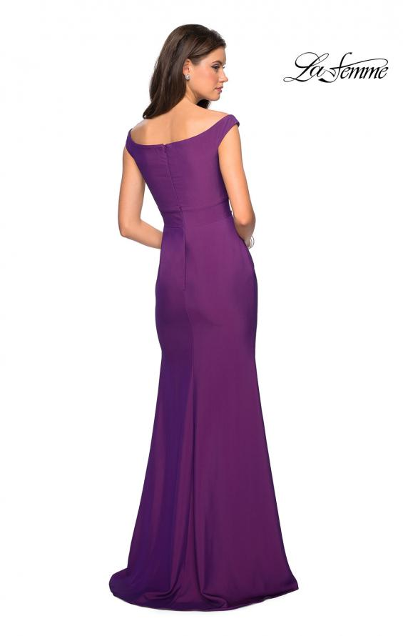 Picture of: Elegant Off the Shoulder Dress with Side Leg Slit in Violet, Style: 27587, Back Picture