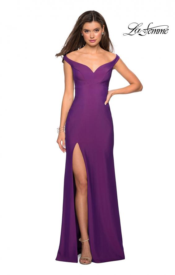 Picture of: Elegant Off the Shoulder Dress with Side Leg Slit in Violet, Style: 27587, Detail Picture 3