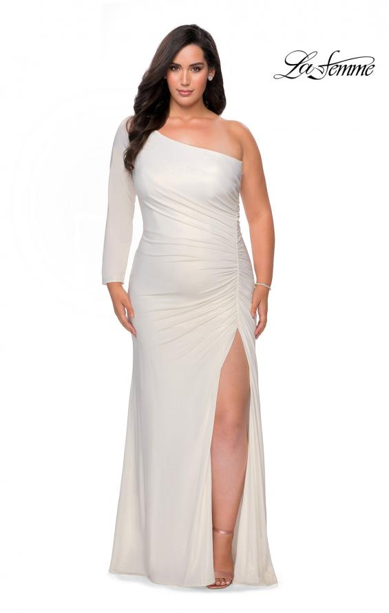 Picture of: One Shoulder Long Sleeve Metallic Plus Size Gown in White Gold, Style: 28878, Detail Picture 1