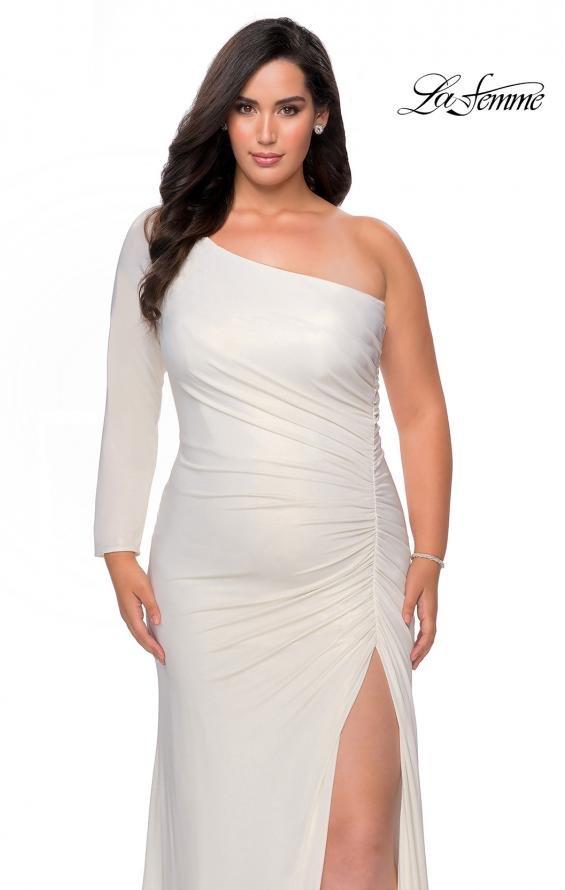 Picture of: One Shoulder Long Sleeve Metallic Plus Size Gown in White Gold, Style: 28878, Detail Picture 4
