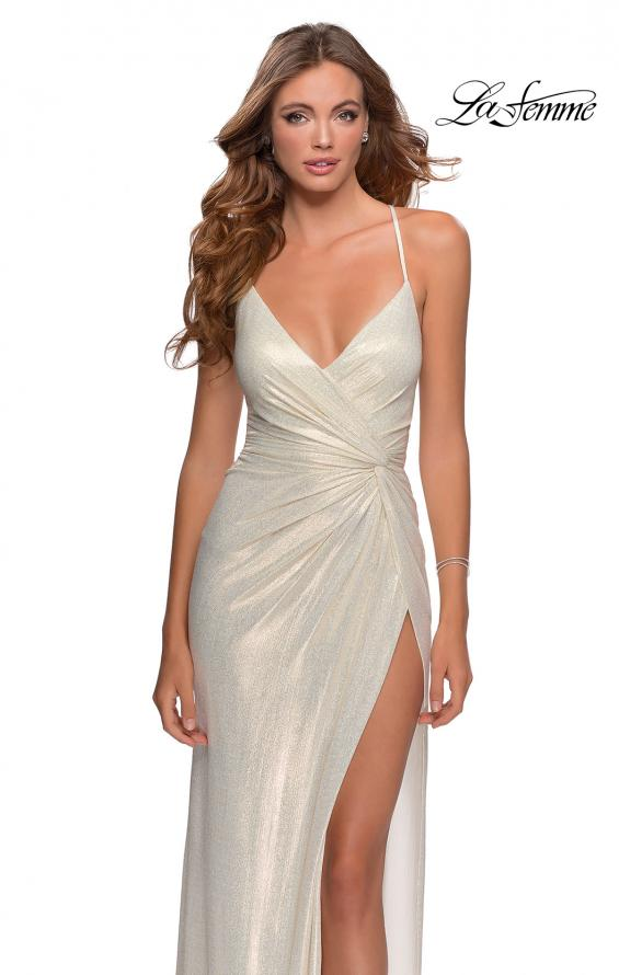 Picture of: Long Metallic Jersey Prom Dress with Knot Detail in White/Gold, Style: 28363, Main Picture