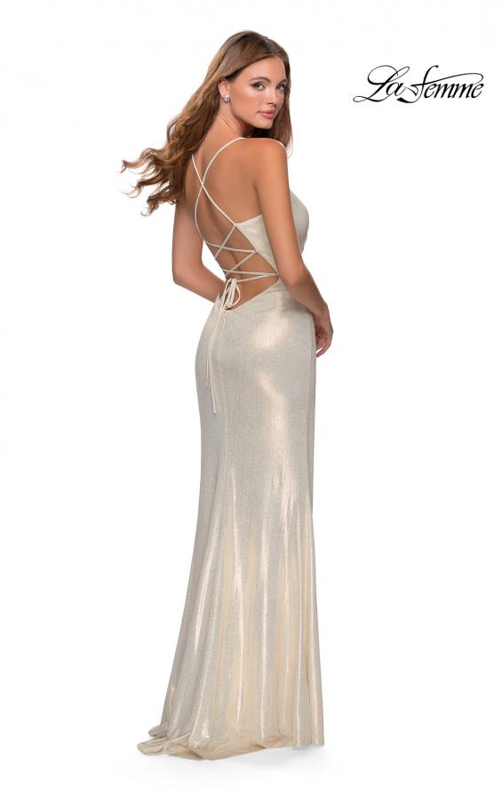 Picture of: Long Metallic Jersey Prom Dress with Knot Detail in White/Gold, Style: 28363, Back Picture