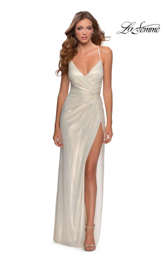 Picture of: Long Metallic Jersey Prom Dress with Knot Detail in White/Gold, Style: 28363, Detail Picture 1