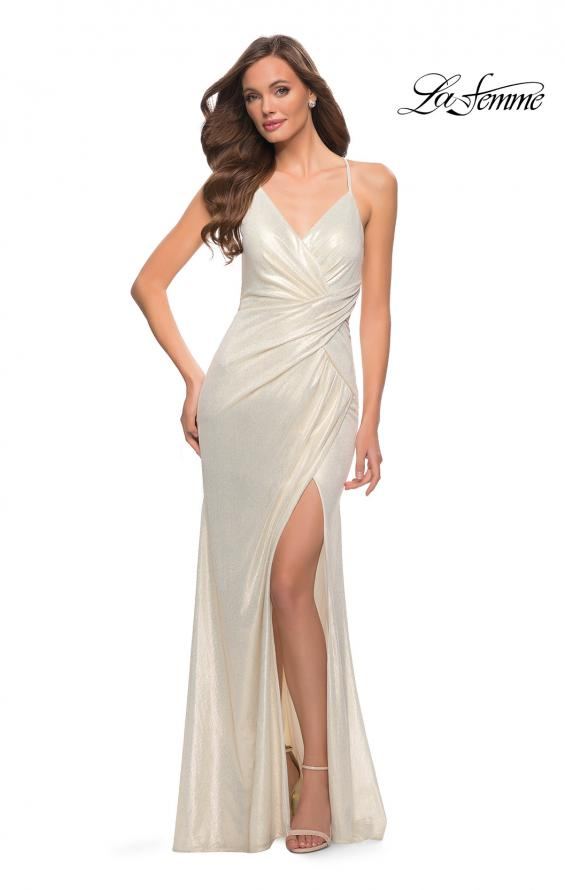Picture of: Criss Cross Ruched Metallic Prom Dress with Slit White Gold, Style 29836, Detail Picture 1