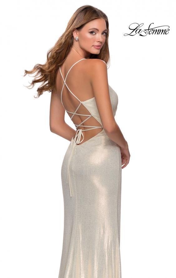 Picture of: Long Metallic Jersey Prom Dress with Knot Detail in White/Gold, Style: 28363, Detail Picture 2