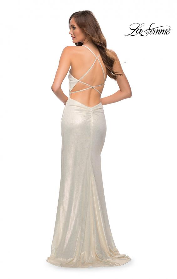 Picture of: Criss Cross Ruched Metallic Prom Dress with Slit White Gold, Style 29836, Detail Picture 2
