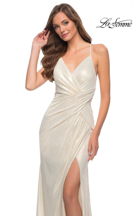 Picture of: Criss Cross Ruched Metallic Prom Dress with Slit White Gold, Style 29836, Detail Picture 5
