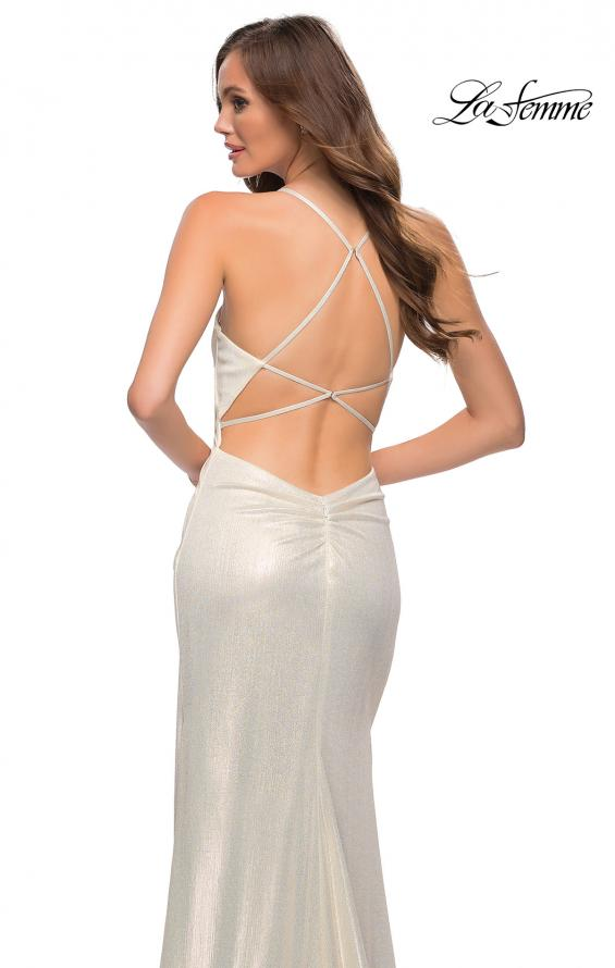 Picture of: Criss Cross Ruched Metallic Prom Dress with Slit White Gold, Style 29836, Detail Picture 6