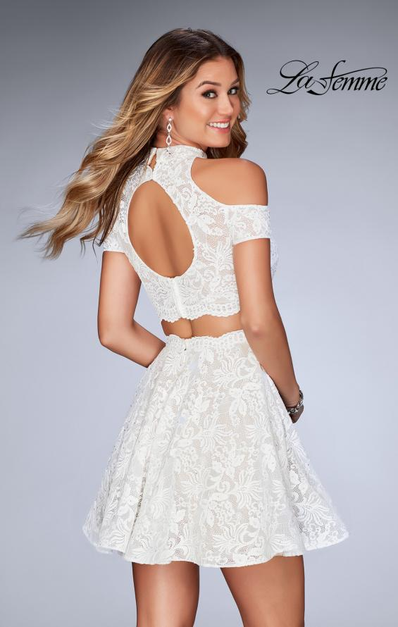 Picture of: Lace Two Piece Dress with Open Shoulders and Keyhole in White, Style: 25021, Back Picture