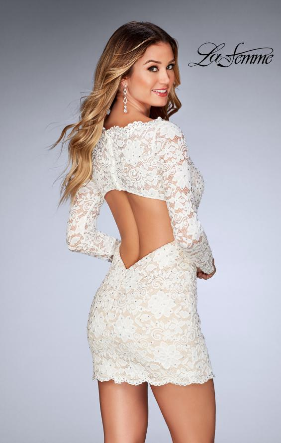 Picture of: Long Sleeve Lace Dress with Deep V Neckline in White, Style: 25038, Back Picture