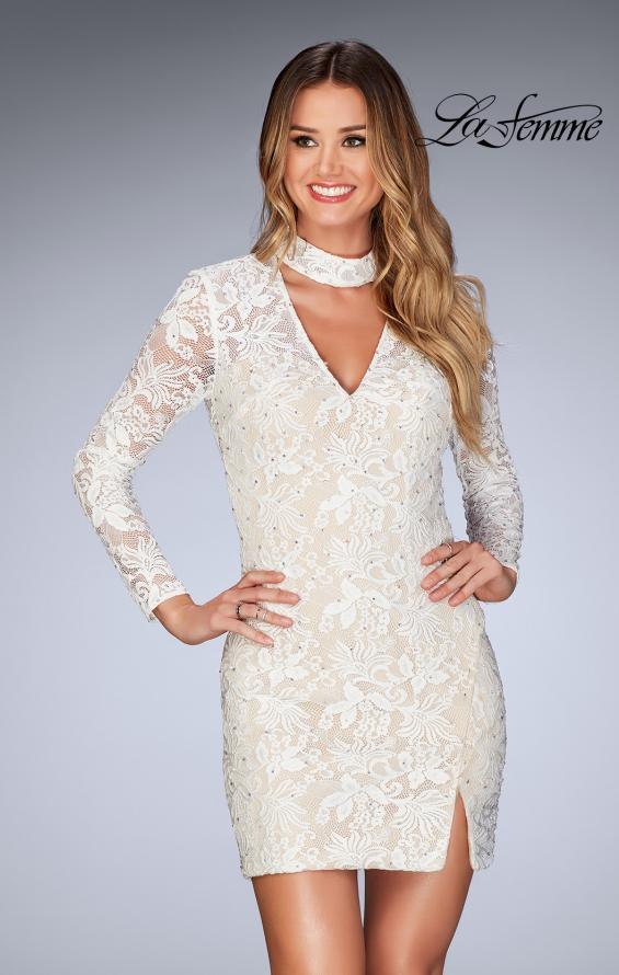 Picture of: Long Sleeve Short Lace Dress with Choker in White, Style: 25373, Detail Picture 1