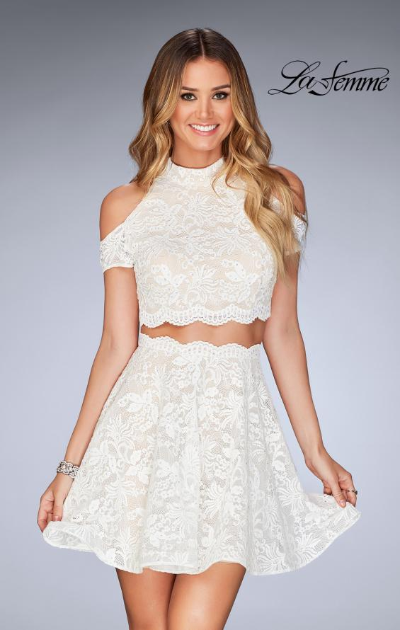 Picture of: Lace Two Piece Dress with Open Shoulders and Keyhole in White, Style: 25021, Detail Picture 2