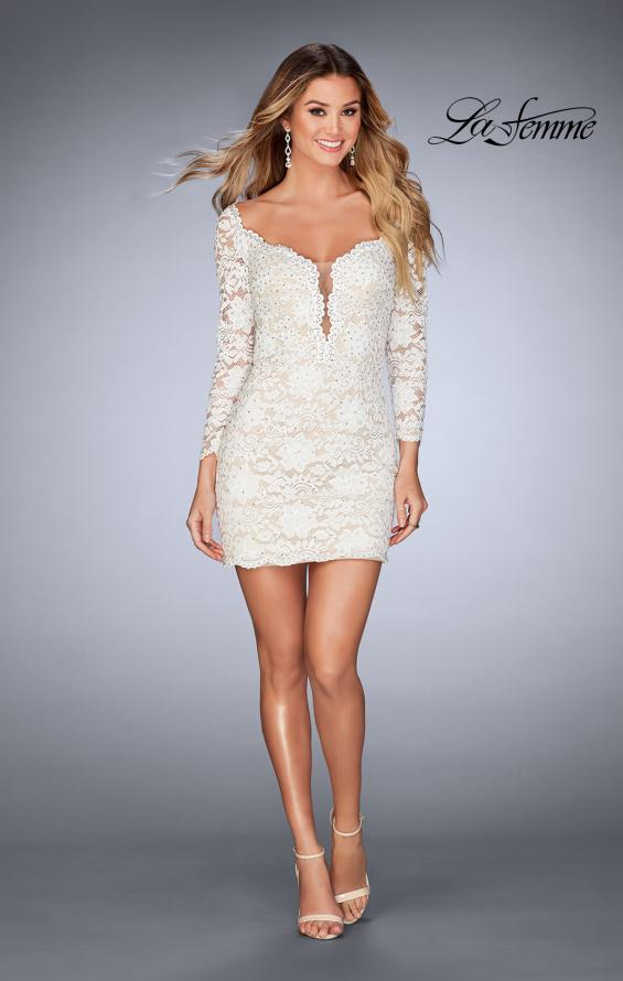 Picture of: Long Sleeve Lace Dress with Deep V Neckline in White, Style: 25038, Detail Picture 2
