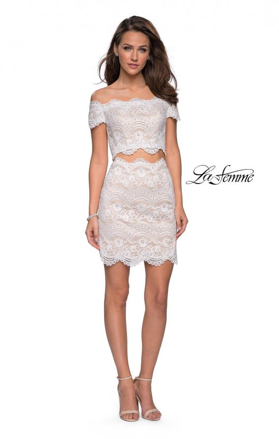 Picture of: Lace Two Piece Dress Set with Off the Shoulder Top in White, Style: 26666, Detail Picture 3
