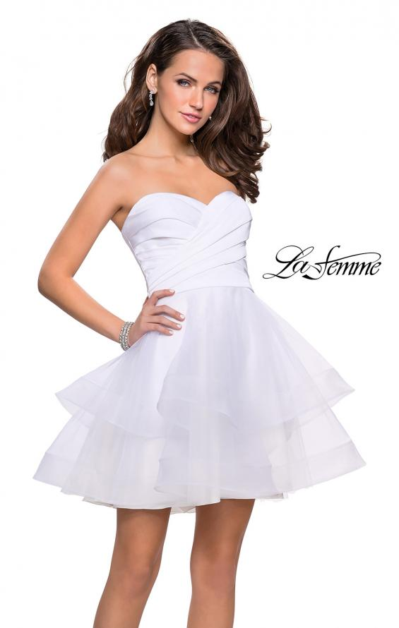 Picture of: Short Homecoming Dress with Tiered Tulle Skirt, Style: 26654, Detail Picture 4